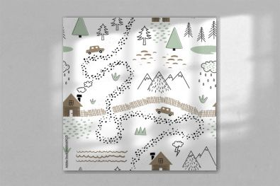 Seamless childish pattern with house, trees, mountains and cars. Nature landscape texture for kids fabric, wrapping, textile, wallpaper, apparel. Graphic illustration in scandinavian style.