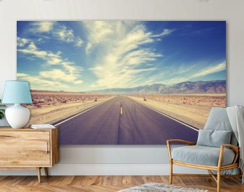 Vintage style highway in Death Valley, USA, travel adventure concept.