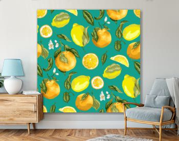 Blooming oranges and lemons on the seamles pattern in realistic vector graphic illustration