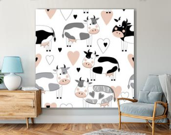 Seamless pattern with cute different cows and hearts. Vector illustration in the Scandinavian style. Suitable for postcards, posters, printing on textiles, packaging, decorating a children's room.