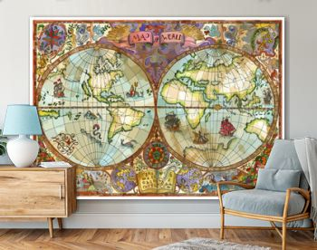 Vector world atlas map on old paper with continents, lands, old ships. Pirate adventures, treasure hunt and old transportation concept. Vector illustration, vintage background