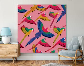 Seamless pattern With Flying Parrots.
