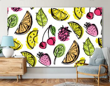 Hand drawn doodle fruit pattern background