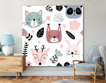 Seamless background with animals and flowers