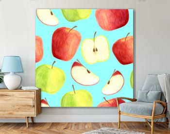 Watercolor apples seamless pattern isolated on blue background. Hand drawn red and green fruits, slices for packaging, menu design, scrapbooking, textile, print, cards, cover, food wrapping