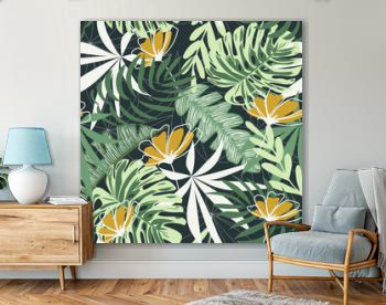 Seamless pattern with tropical leaves and flowers on a dark background. Vector design. Jungle print. Textiles and printing. Floral background.