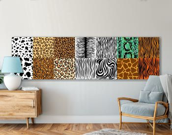 Collection of natural seamless patterns with coat, skin of fur textures of wild exotic animals - zebra, snake, tiger, leopard, giraffe. Flat vector illustration for wrapping paper, textile print.