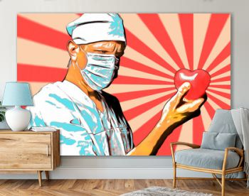 Retro pop art poster, doctor man in a white coat holding a heart in his hands.