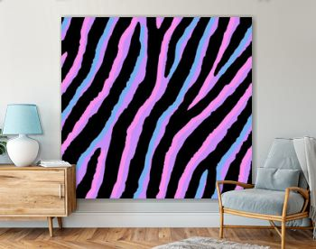 Seamless acid pink and purple zebra pattern 80s 90s style.Fashionable colorful exotic animal print