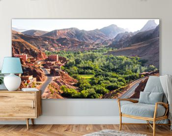 View of the city of Tamellalt in Atlas Mountains in Morocco