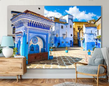 Beautiful view of the square in the blue city of Chefchaouen. Location: Chefchaouen, Morocco, Africa. Artistic picture. Beauty world