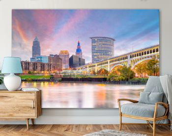 View of downtown Cleveland skyline in Ohio USA