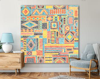 Embroidered seamless pattern. Geometric print for textiles. Carpet, rug, bedding hand-drawn. Red, blue, yellow and orange shades. Vector illustration.