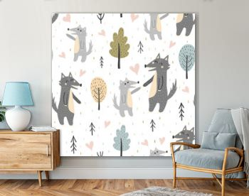 Cute mother wolf with her baby pup seamless pattern. Forest vector illustration
