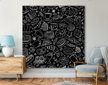 Vector background with breakfast, lunch, coffee, pizza, snacks. Useful for packaging, menu design and interior decoration. Hand drawn doodles.  Seamless pattern of food elements on black background.