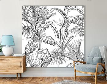 Seamless pattern with tropical palm leaves and branches. Hand drawn vector illustration.