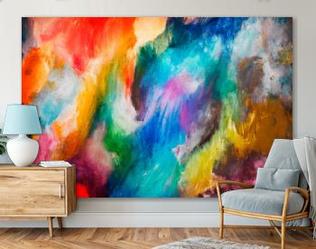 Abstract multicolor oil canvas painting pattern.