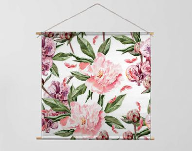 Seamless pattern with peonies, orchid flowers and leaves.
