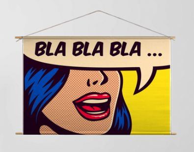 Pop art style comic book panel with girl talking nonsense small talk chatter in speech bubble vector poster design illustration