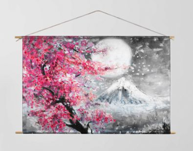 oil painting landscape with sakura and mountain, hand drawn illustration, Japan