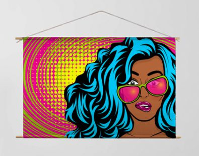 Black young oops woman pop art style wow swag