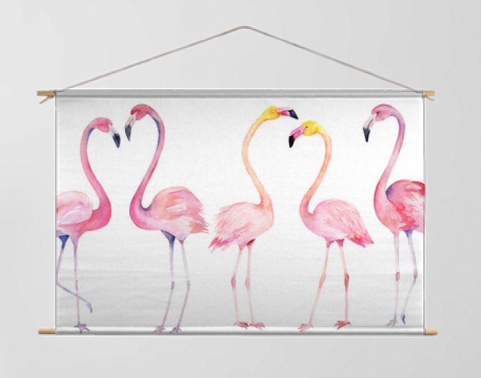 Set watercolor random flamingos. Isolated hand drawn illustration