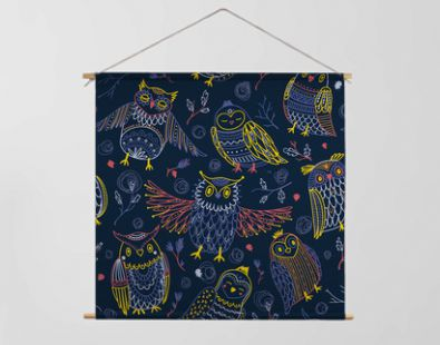 Cute owls seamless pattern in boho style with ornaments.
