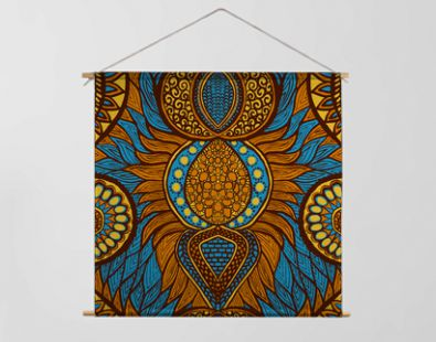 African print in blue, orange and yellow colors. Colorful ethnic seamless pattern