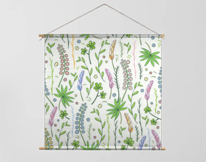 Hand-drawn flowers and leaves seamles pattern. Vector graphics.