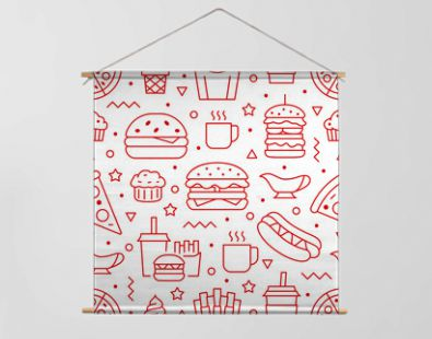 Fast food seamless pattern with vector line icons of hamburger, pizza, hot dog, beverage, cheeseburger. Restaurant menu background, tasty unhealthy lunch
