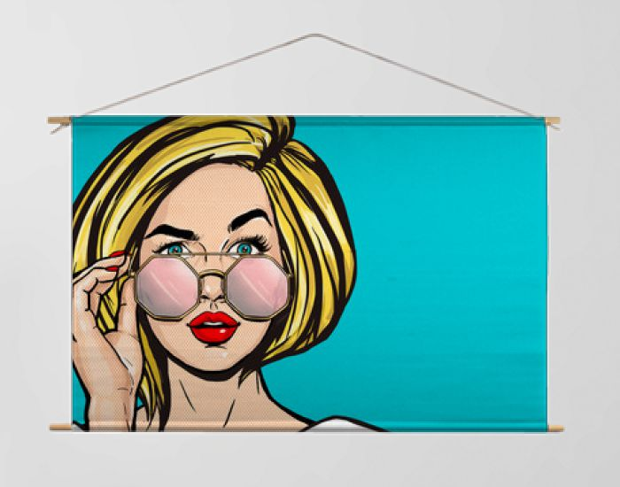 Surprised Pop Art Woman in glasses. Thinking blonde young sexy girl with open mouth. Expressive facial expressions. Wow face. Emotions and advertisement.