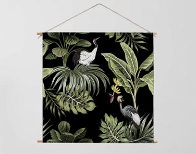 Tropical vintage night crane bird, palm trees, banana tree, palm leaves floral seamless pattern dark background. Exotic botanical jungle wallpaper.