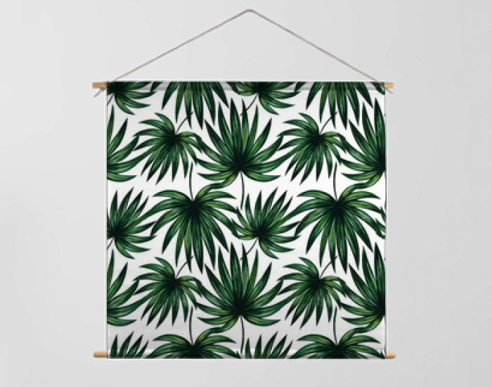 Jungle palm leaves seamless pattern. Green watercolor floral texture with elements of South America flora. Exotic plants background for decoration, wallpaper, textile print, summer banner, invitation