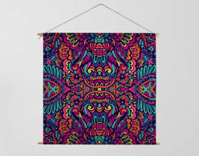 Abstract colorful festival doodle unique ethnic seamless pattern ornamental