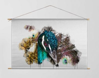 Blue and Green Cute Peacock Bird. Beautiful Digital watercolour painting of Bird. Isolated painting of Exotic Birds. Endangered Animal Abstract Paintings Wallpaper. Portrait of Bird