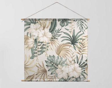 Tropical floral foliage palm leaves, hibiscus flower seamless pattern beige background. Exotic jungle wallpaper.