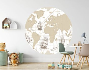 Hand drawn vector world map with compass, anchor and sailing ships in vintage style. Perfect for textiles, wallpaper and prints