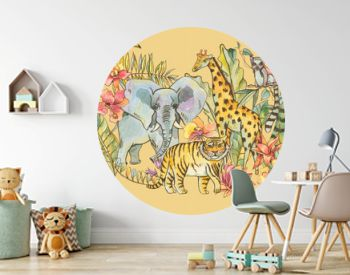 Watercolor jungle illustration, Natural Exotic Tropical Greeting Card with wild animals, flowers of orchids