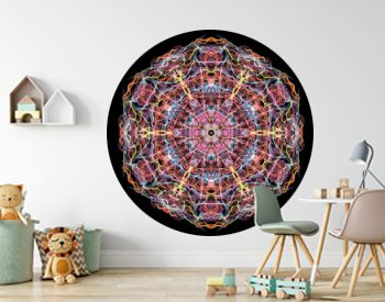 Red, blue and yellow abstract flame mandala Flower, ornamental round pattern on black background. Yoga theme.
