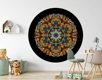 Yellow, red and blue abstract flame mandala flower, ornamental round pattern on black background. Yoga theme.