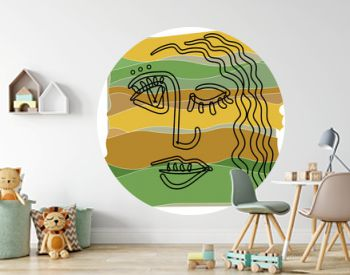 Girl face in cubism outline style on a abstract background in warm colors.