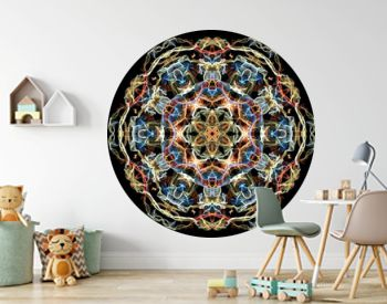 Blue, yellow and red abstract flame mandala flower, ornamental floral round pattern on black background. Yoga theme.