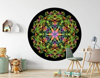 Green, pink and blue abstract flame mandala flower, ornamental floral round pattern on black background. Yoga theme.