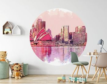 Watercolor sketch or illustration of a beautiful view of the urban architecture of Sydney in Australia. Cityscape or urban skyline