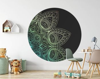 Black rich background with a iridescent round pattern, shiny mandala, oriental background
