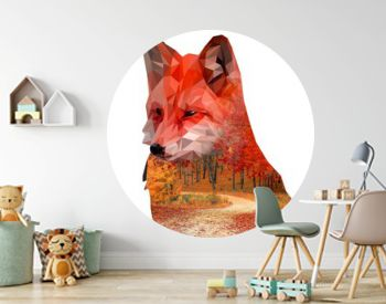Fox, autumn forest, double exposure on a homogeneous background