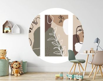Set Backgrounds with Women Portraits and flora Elements. Abstract Mobile Wallpapers in minimalist trend style templates for social media stories. Vector Illustration in pastel color pink, green, beige
