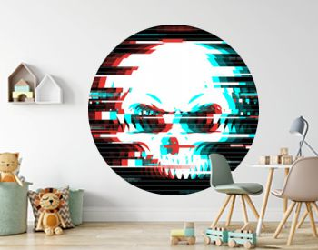 Illustration of a skull in glitch art style. Design element for event advertising, branding, shares, promotion. Vector illustration.