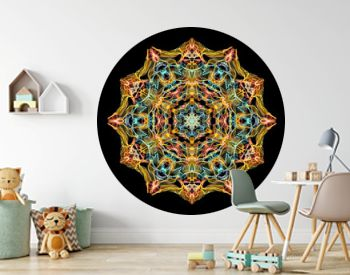 Yellow, coral and blue abstract flame mandala flower, ornamental floral round pattern on black background. Yoga theme.
