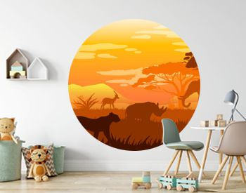 Horizontal African landscape with tropical animals, trees and grass in warm colors. Savannah view with leopard, giraffe, rhino, elephant silhouettes. Exotic safari background for posters, banners